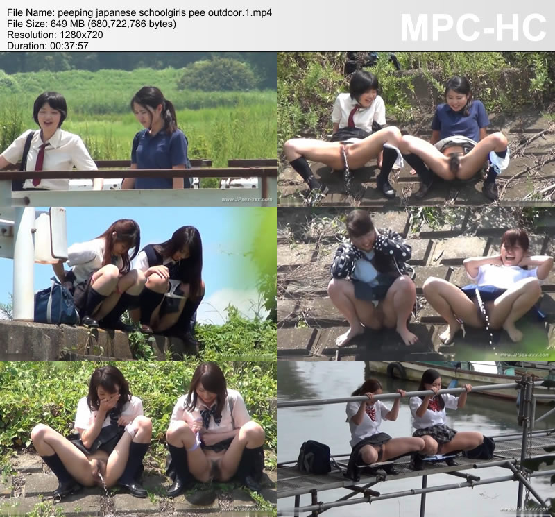 peeping japanese schoolgirls pee outdoor.1