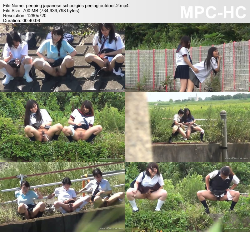 peeping japanese schoolgirls peeing outdoor.2