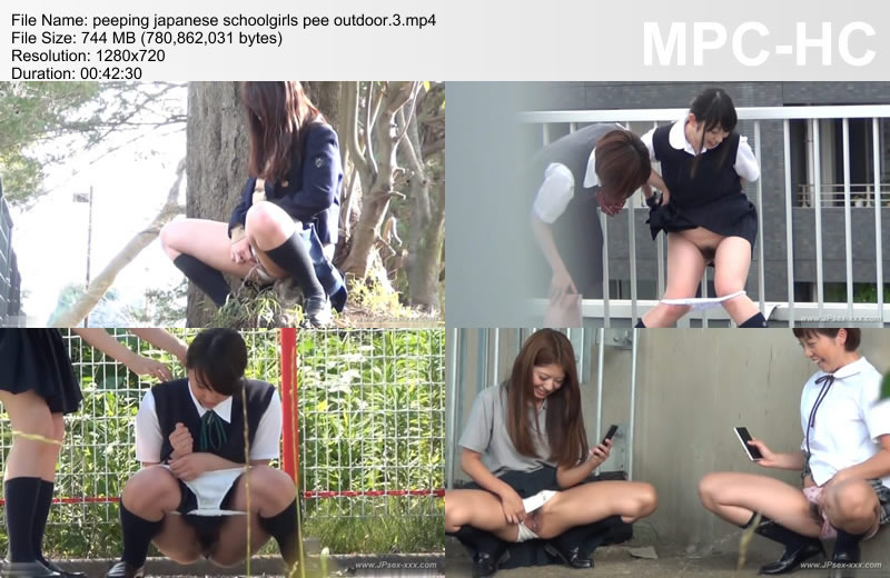 peeping japanese schoolgirls pee outdoor.3