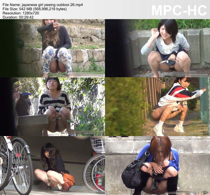 japanese girl peeing outdoor.26